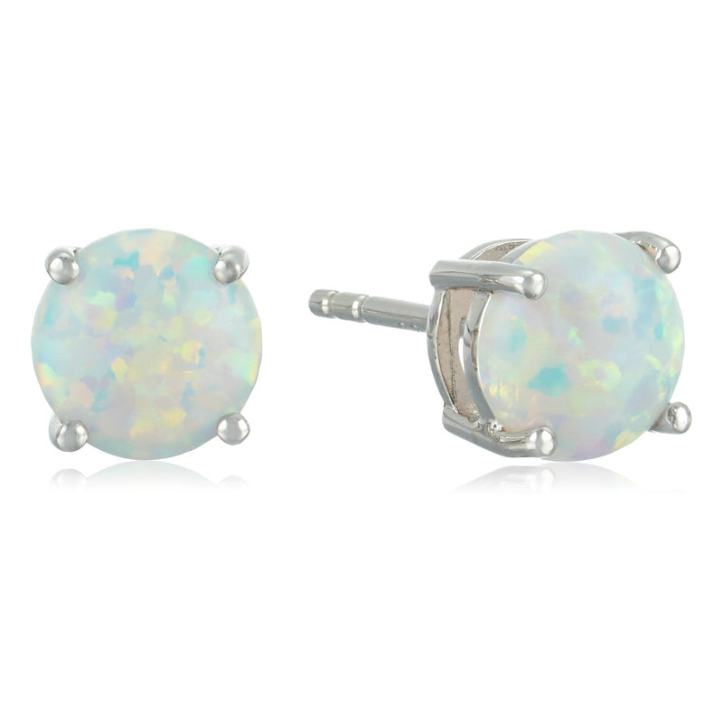 Sterling Silver Created Opal 7 mm Round Stud Earrings - pinctore