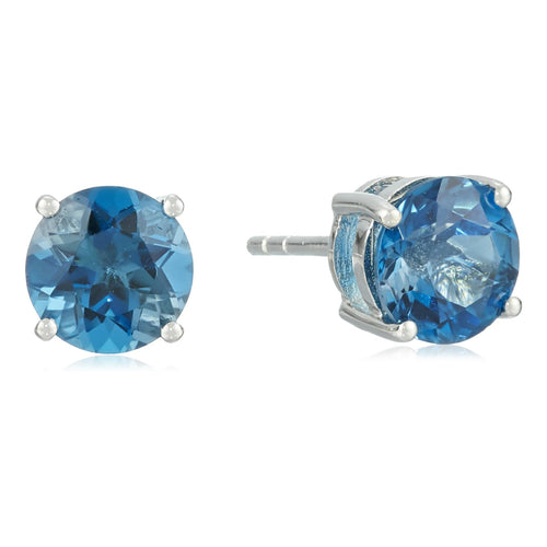 Sterling Silver London Blue Topaz 7 mm Round Stud Earrings - pinctore