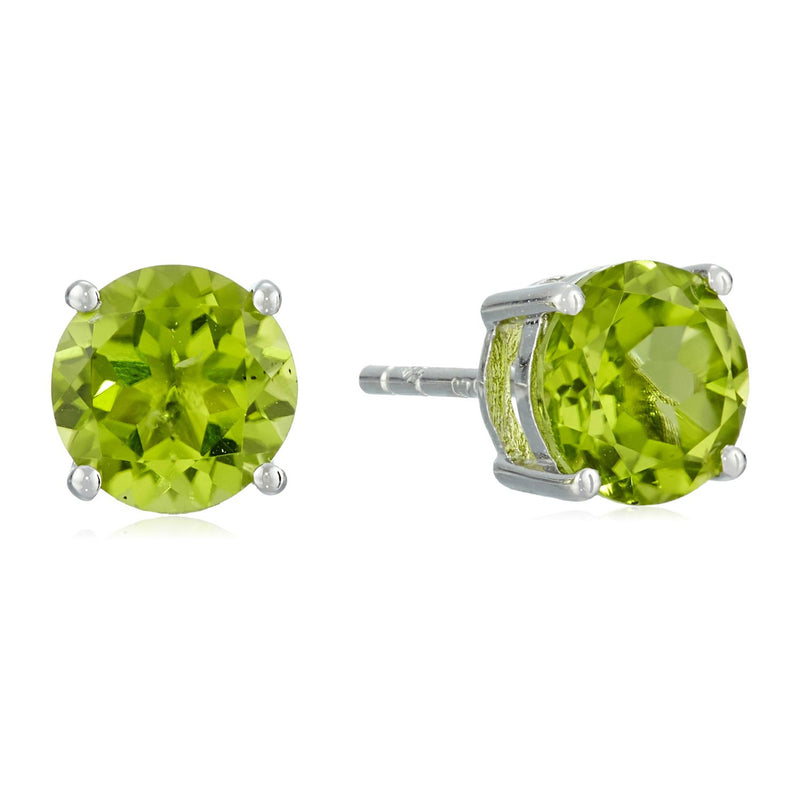 Sterling Silver Peridot 7 mm Round Stud Earrings - pinctore