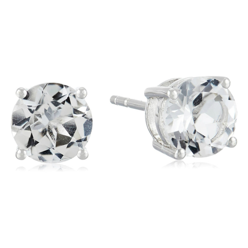 Sterling Silver White Topaz 7 mm Round Stud Earrings