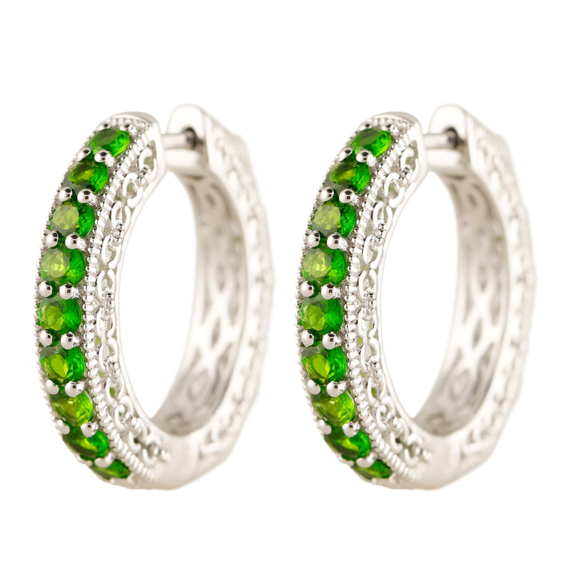 Pinctore Sterling Silver 2.39ctw Chrome Diopside Hoops Earrings - pinctore