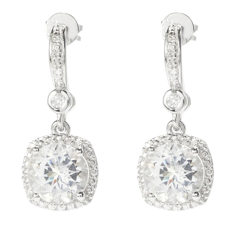 Pinctore Rhodium Over Sterling Silver 4.8ctw White Topaz Drop Earrings 1'L - pinctore