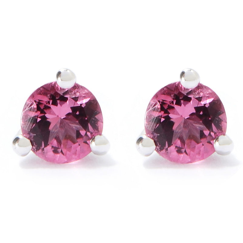 "Sterling Silver 0.51Ctw Pink Tourmaline Studs Earring 0.60""L"