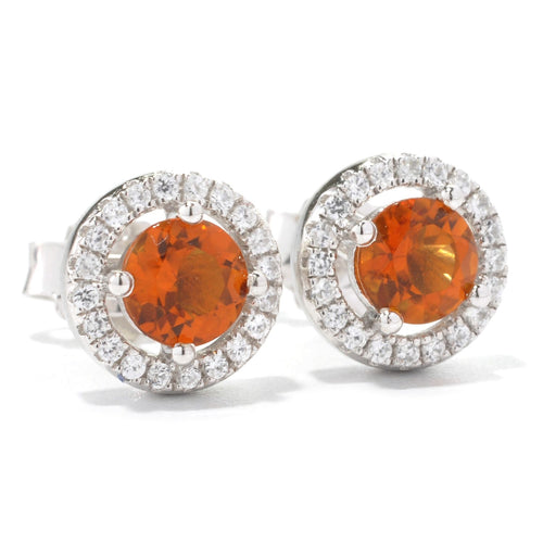 Pinctore Platinum o/Silver 1.03ctw Madeira Citrine Stud Earrings - pinctore