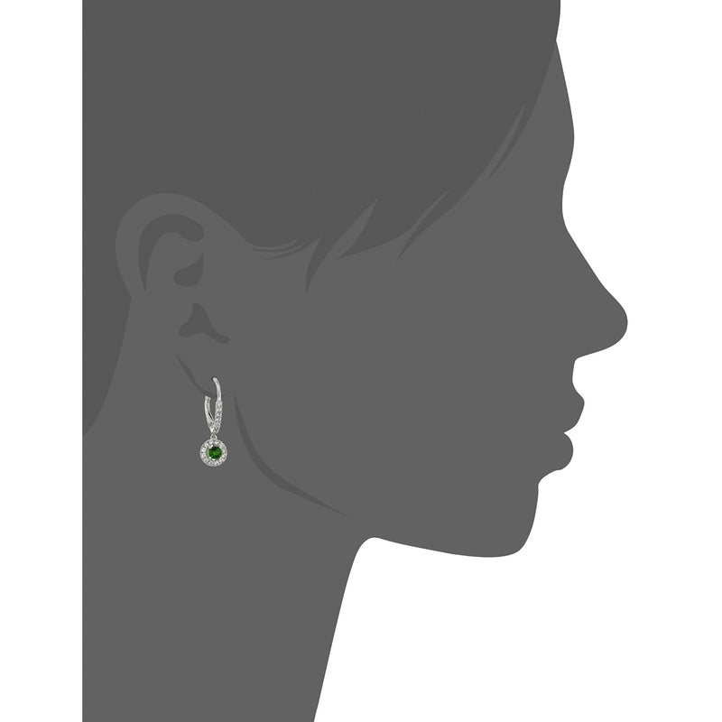 Pinctore Sterling Silver Chrome Diopside and Created White Sapphire Dangle Earrings