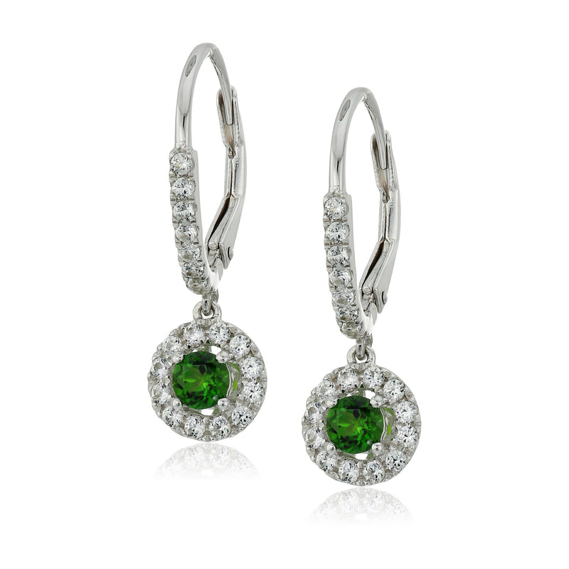 Sterling Silver Chrome Diopside and Created White Sapphire Dangle Earrings - pinctore