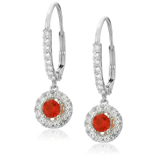 925 Sterling Silver Fire Opal, Created White Sapphire Earring
