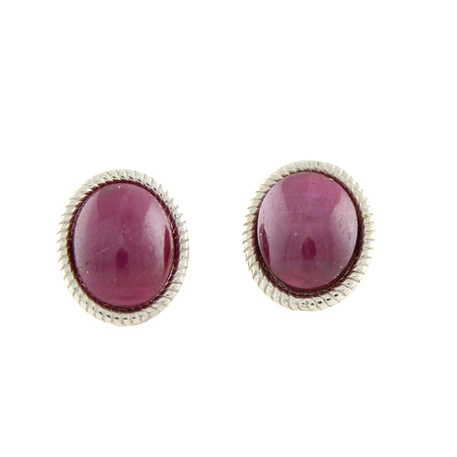 Pinctore Sterling Silver 7.45ctw Ruby Studs Earring 0.50'L - pinctore