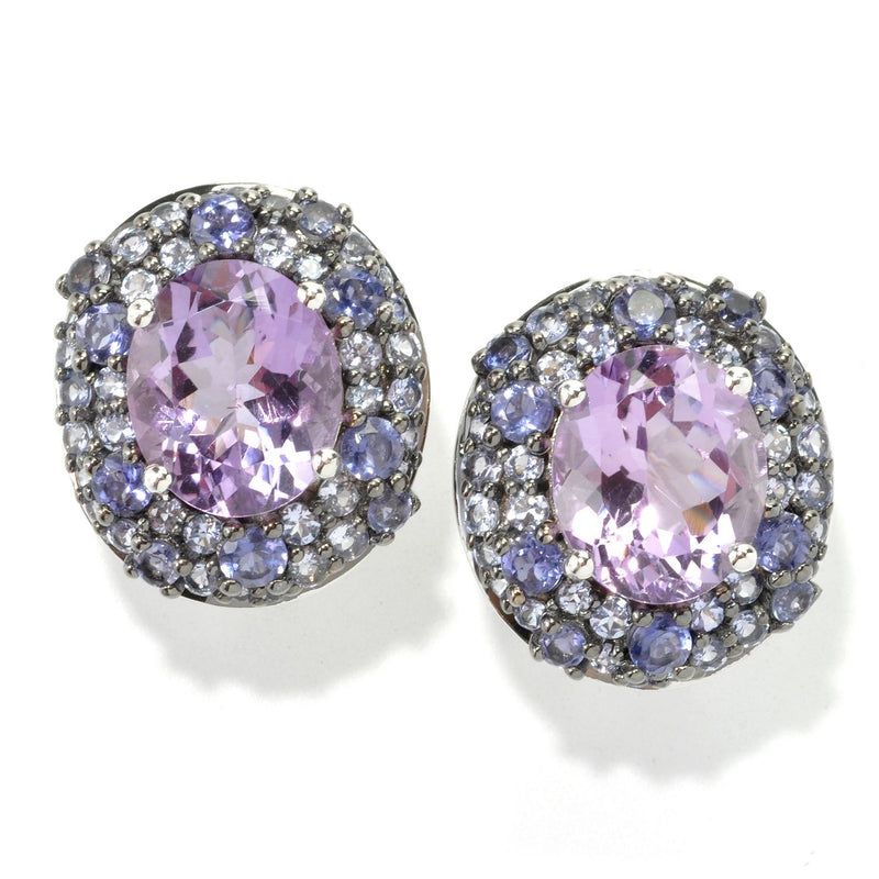 Pinctore Platinum o/Silver 12.18ctw African Amethyst Studs Earring 0.81'L - pinctore