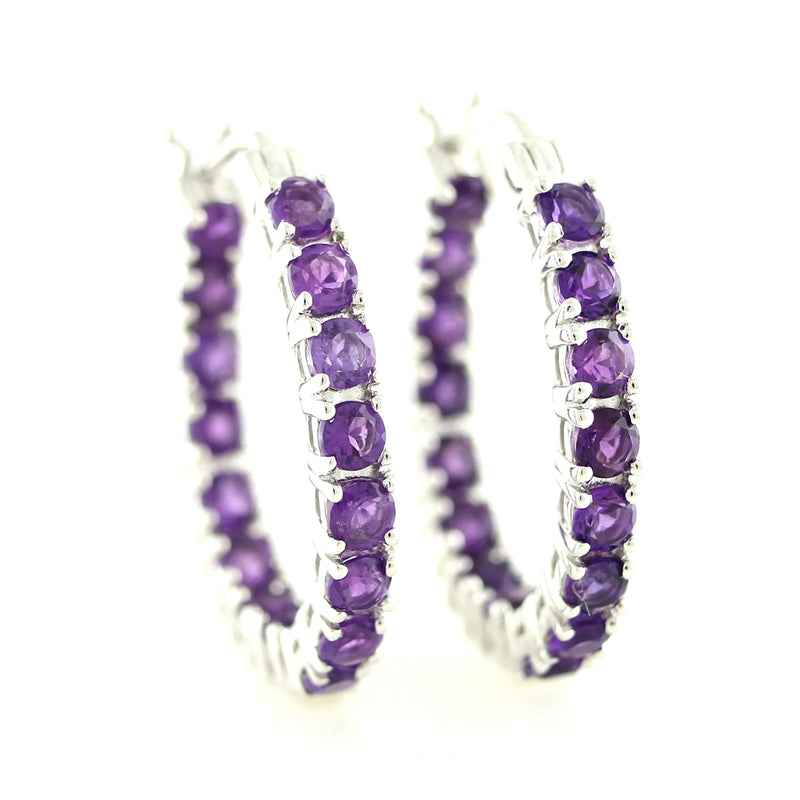 Pinctore Sterling Silver 3.35ctw Amethyst 1' Hoop Earrings - pinctore