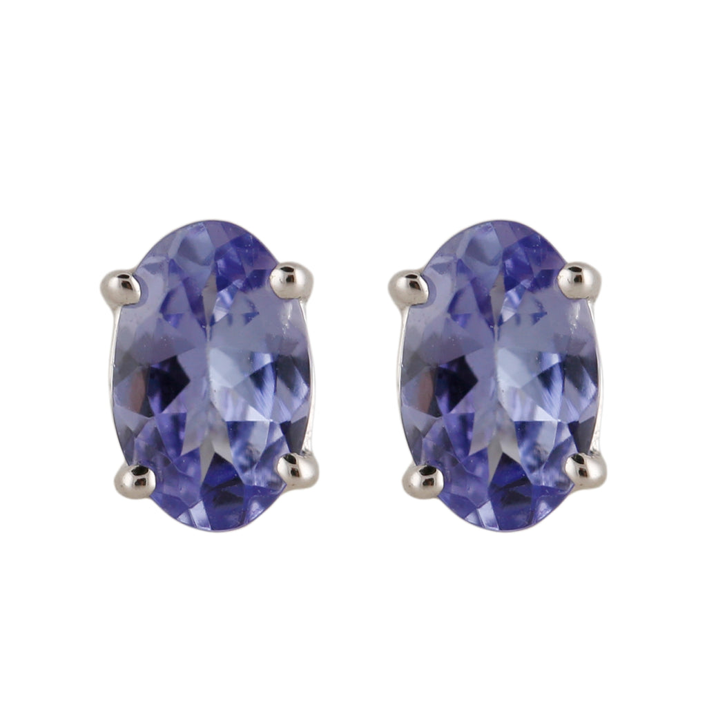 Pinctore Sterling Silver 6x4 mm Oval Shaped 0.85ctw Tanzanite Studs Earrings - pinctore