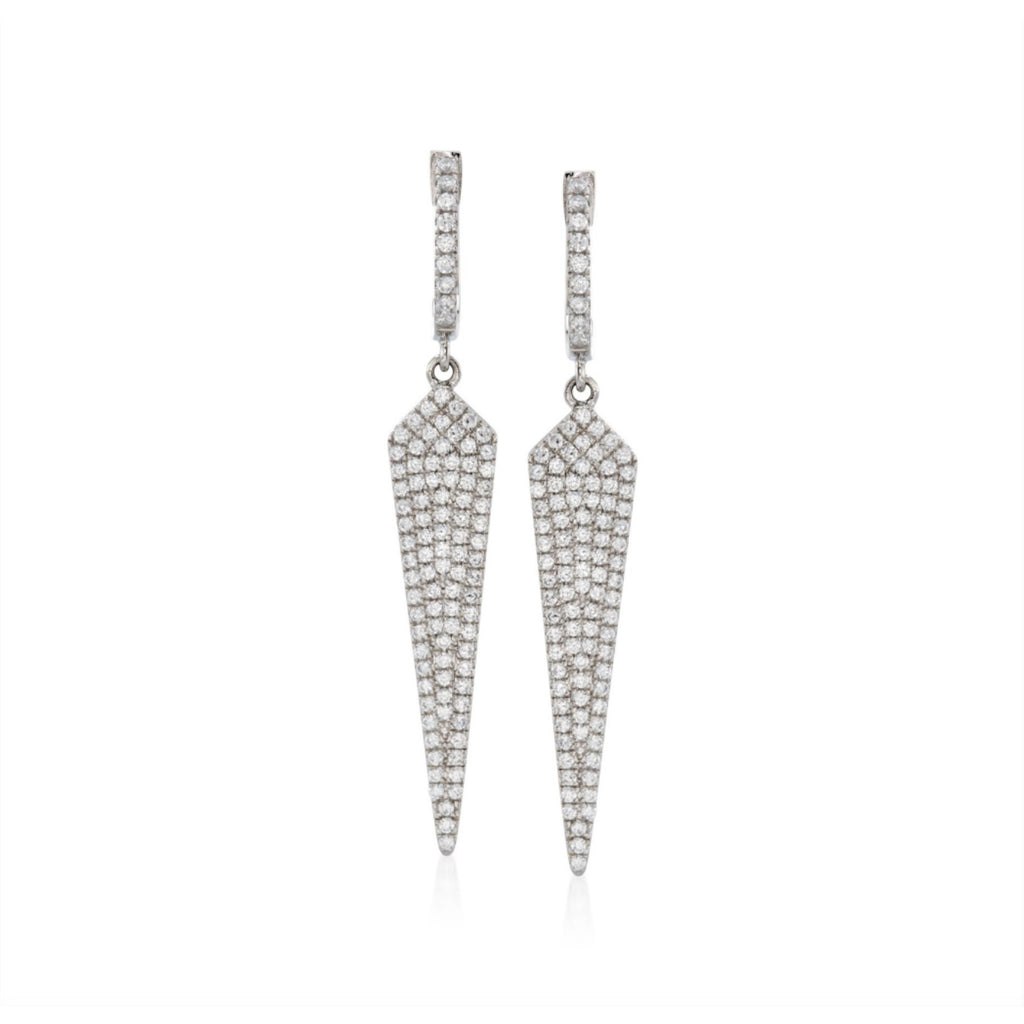 Pinctore Sterling Silver 1.50ctw White CZ Pointed Drop & Dangle Earrings - pinctore