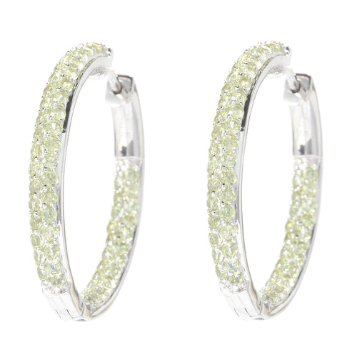 "Pinctore Sterling Silver 1.25"" Peridot Inside-out Hoop Earrings - pinctore"