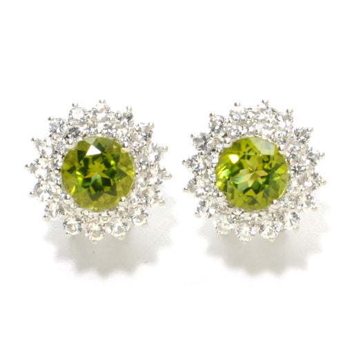 Pinctore Sterling Silver 6.7ctw Peridot & White Topaz Studs Earrings w/Omega - pinctore
