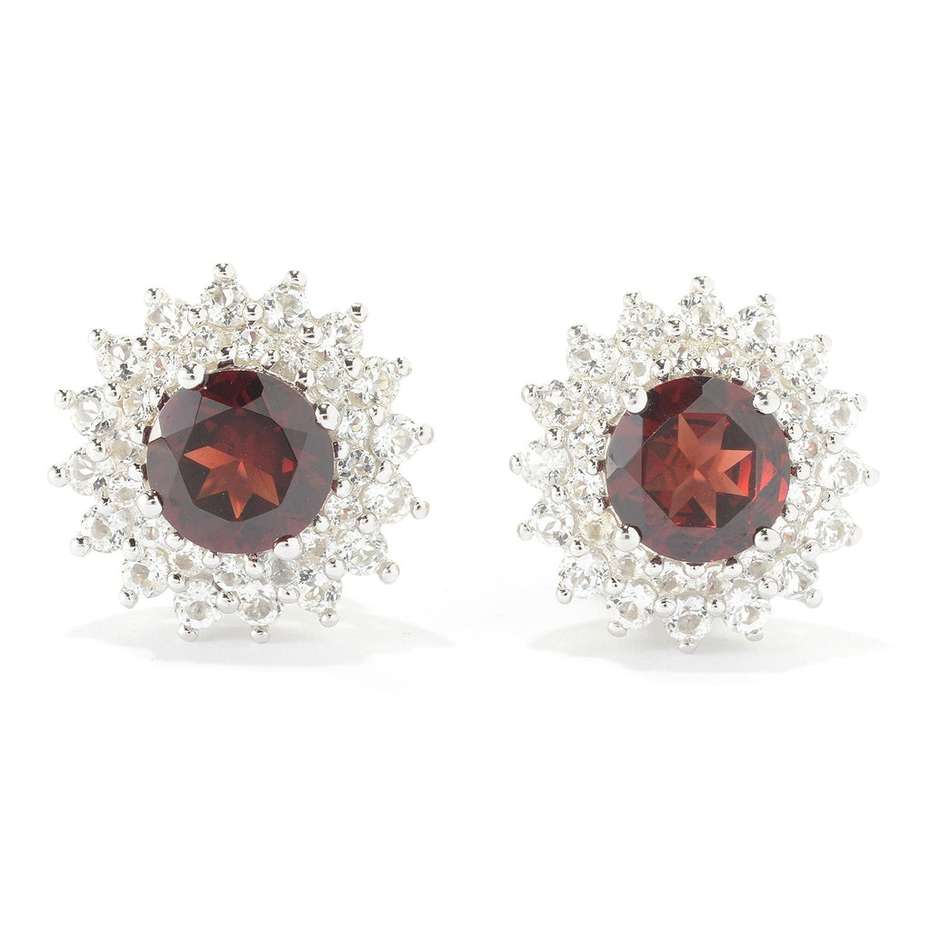 Pinctore Sterling Silver 6.8ctw Red Garnet & White Topaz Studs Earrings w/Omega - pinctore
