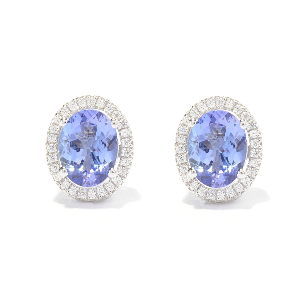 Pinctore Rhodium Over Sterling Silver 4.03ctw Tanzanite Stud Earrings 0.4'L - pinctore