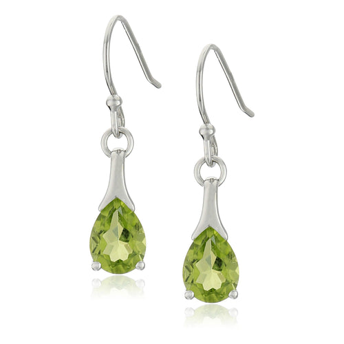 Sterling Silver Peridot Shepherd Hook Dangle Earrings - pinctore