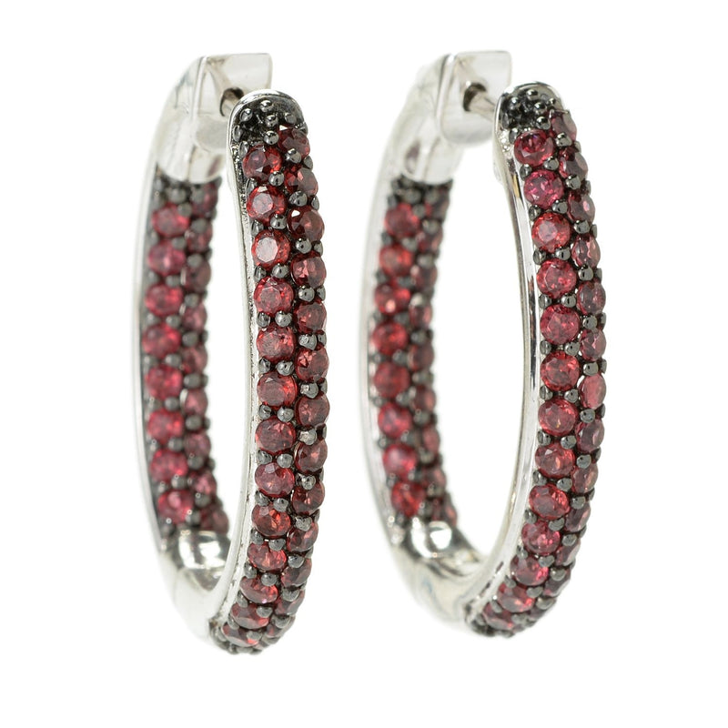 Pinctore Sterling Silver Pave Rhodolite Inside-out Hoop Earrings - pinctore