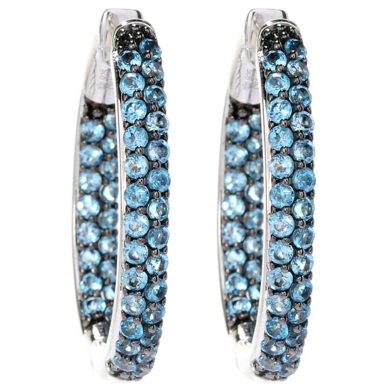 Pinctore Sterling Silver Pave Swiss Blue Topaz Inside-out Hoop Earrings - pinctore