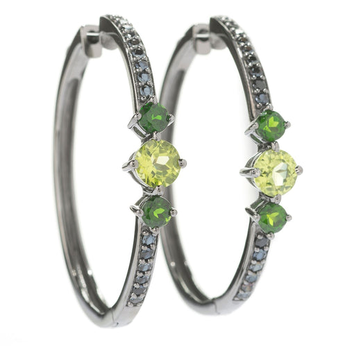 Pinctore Sterling Silver 1.5' Round Peridot, chrome Diopside & Black Spinel Hoop Earrings - pinctore