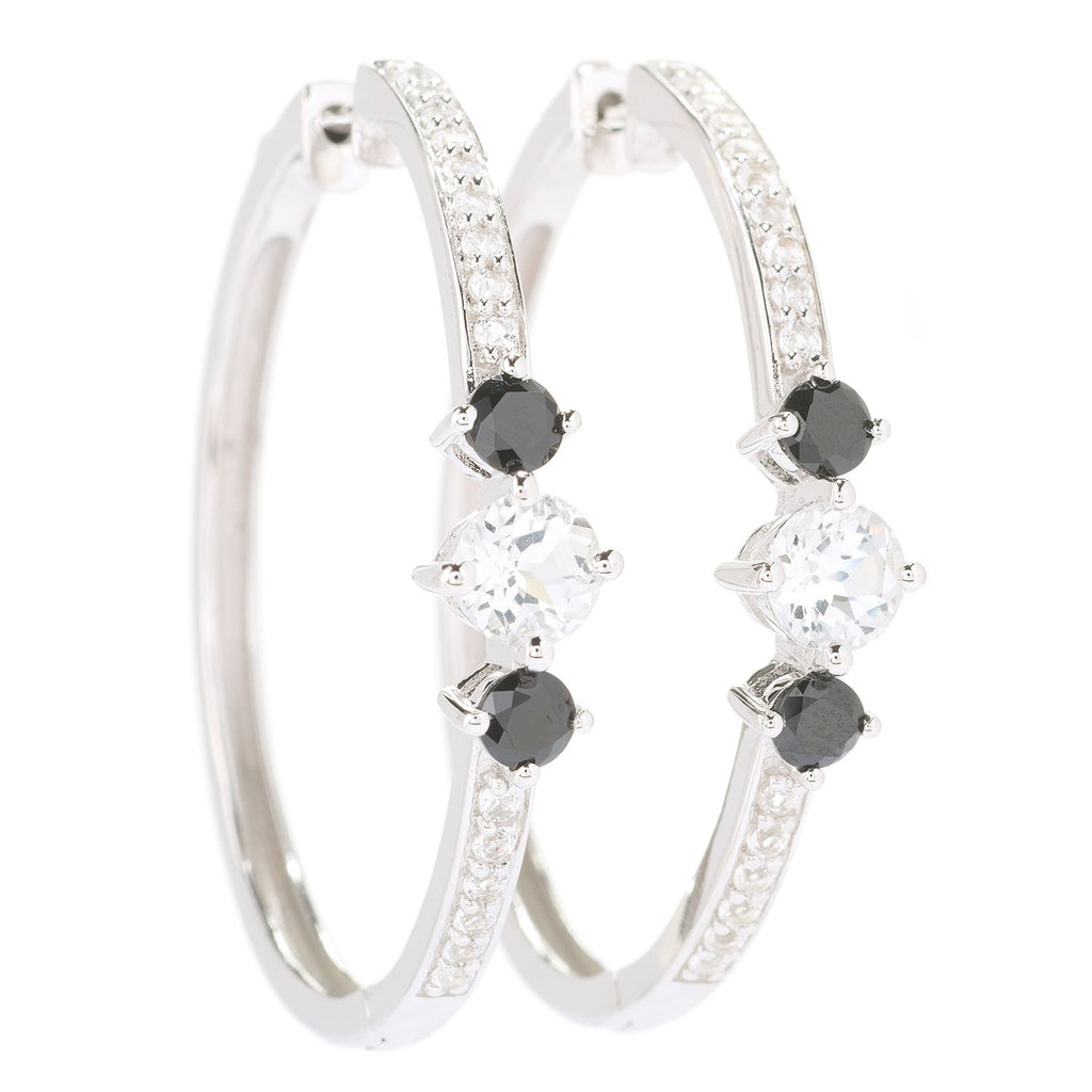 Pinctore Sterling Silver 1.08ctw White Topaz & Black Spinel Round Hoop Earrings 1.5'L - pinctore