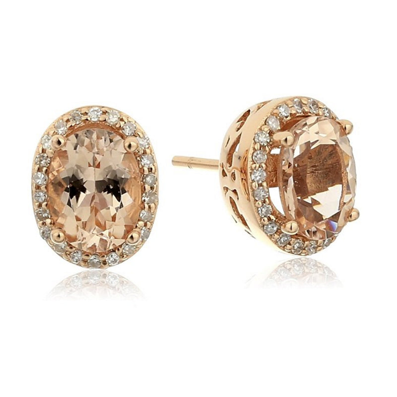 14k Rose Gold Morganite and Diamond Stud Earrings (1/5 cttw, H-I Color, I1-I2 Clarity) - pinctore