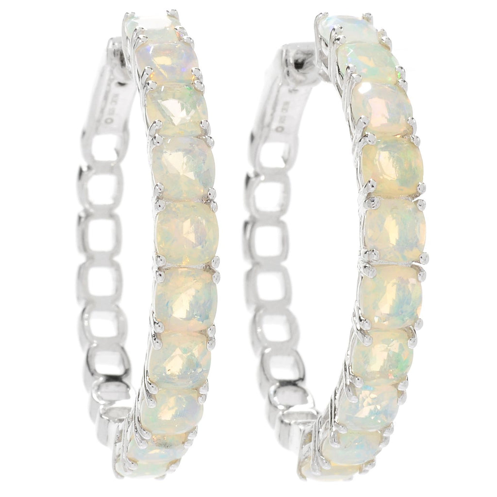 "Pinctore Sterling Silver 1.25"" Ethiopian Opal Clicker Back Hoop Earrings - pinctore"