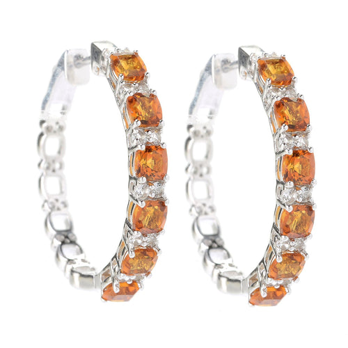 Pinctore Rhodium o/Sterling Silver 3.58ctw Citrine & White Topaz Hoop Earrings 1'L - pinctore