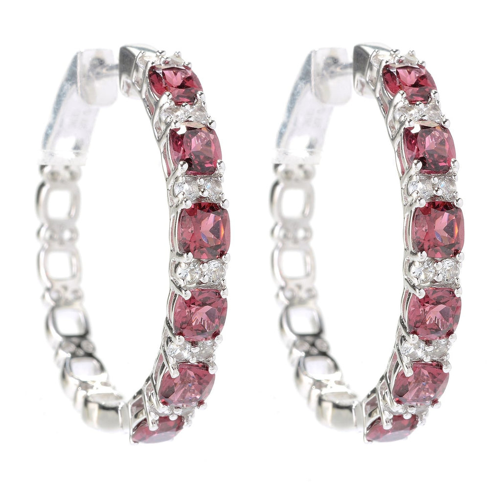 Pinctore Sterling Silver 4.64ctw Rhodolite & White Topaz Hoop Earrings 1'L - pinctore