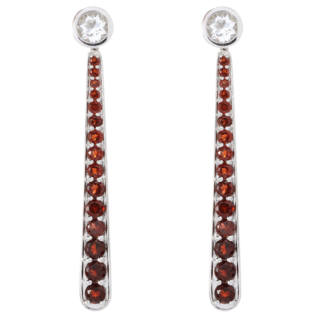 Pinctore SS/ 2ctw White Topaz Stud Earrings w/ 4.8ctw Red Garnet Earring Jackets 2.25'L - pinctore