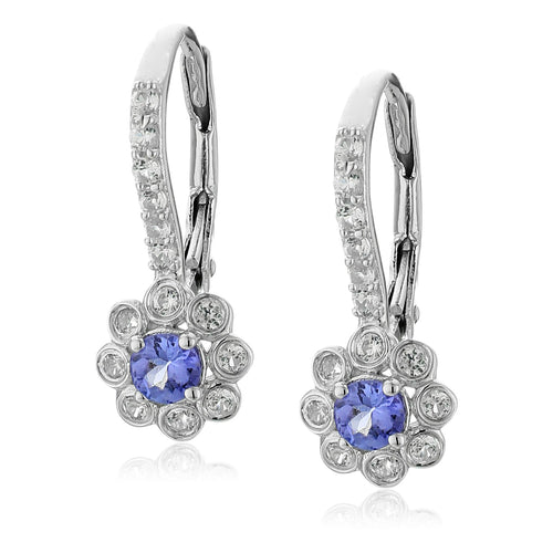 Sterling Silver 1Cttw Tanzanite And Created White Sapphire Lever-Back Earrings