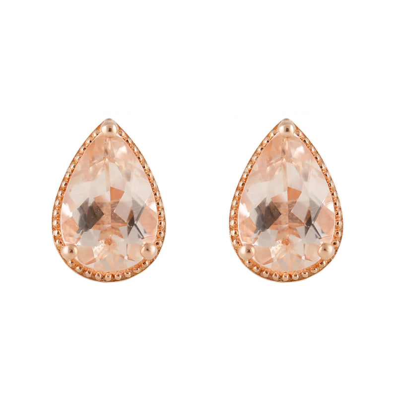 Pinctore 14K Rose Gold Over Sterling Silver 2.2ctw Morganite Pear Shaped Earrings