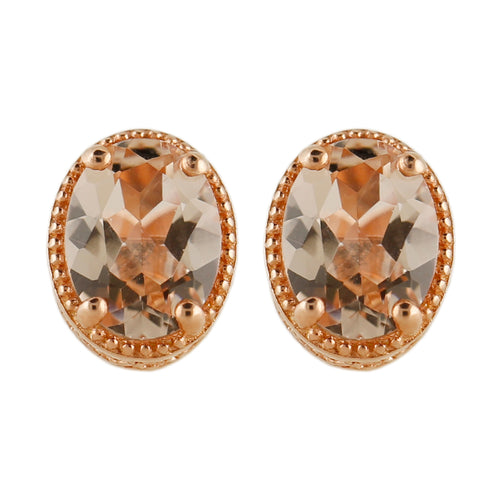 Pinctore 14K Rose Vermeil 2.23ctw Morganite Oval Shaped Studs Earrings