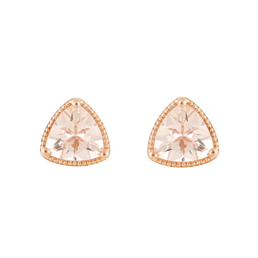 Pinctore 14K Rose Gold Over Sterling Silver 2ctw Morganite Triangle Shaped Stud Earrings - pinctore