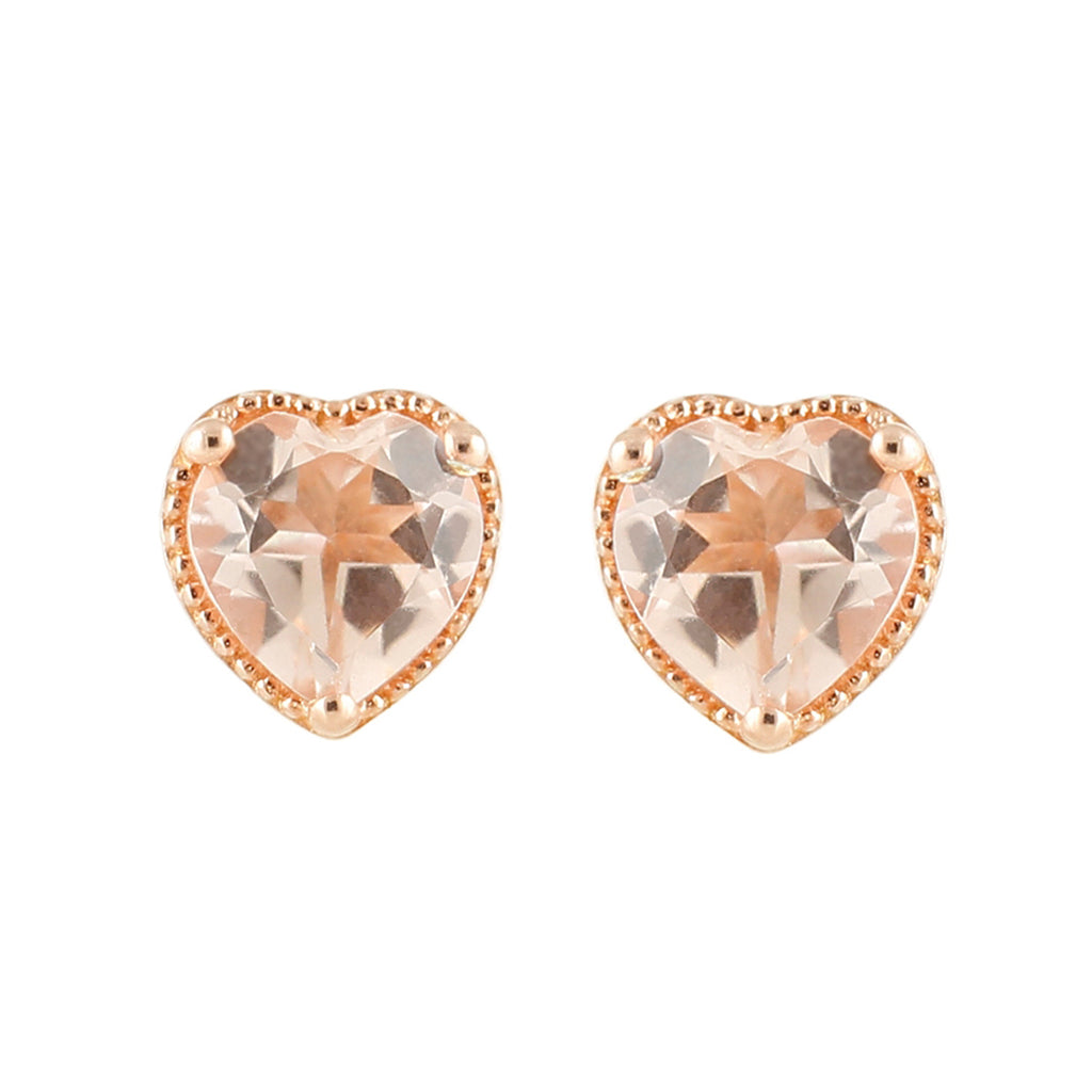 Pinctore 14K Rose Gold Over Sterling Silver 1.3ctw Morganite Stud Earrings - pinctore