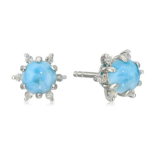Sterling Silver Larimar Halo Stud Earrings - pinctore