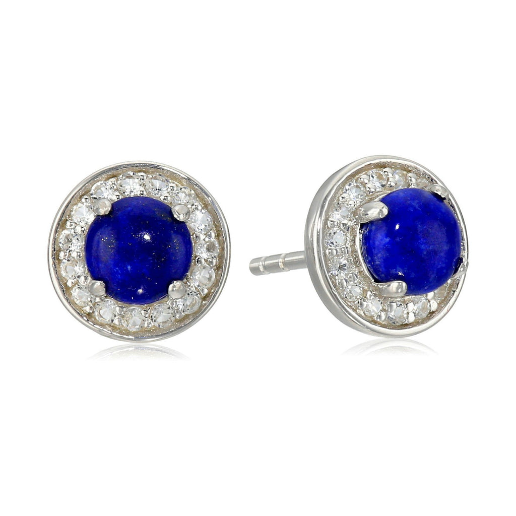 Sterling Silver Lapis Round Halo Stud Earrings - pinctore
