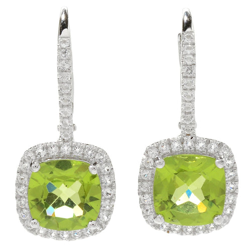 "Pinctore Sterling Silver 1"" 4.52ctw Peridot & White Topaz Drop Earrings - pinctore"