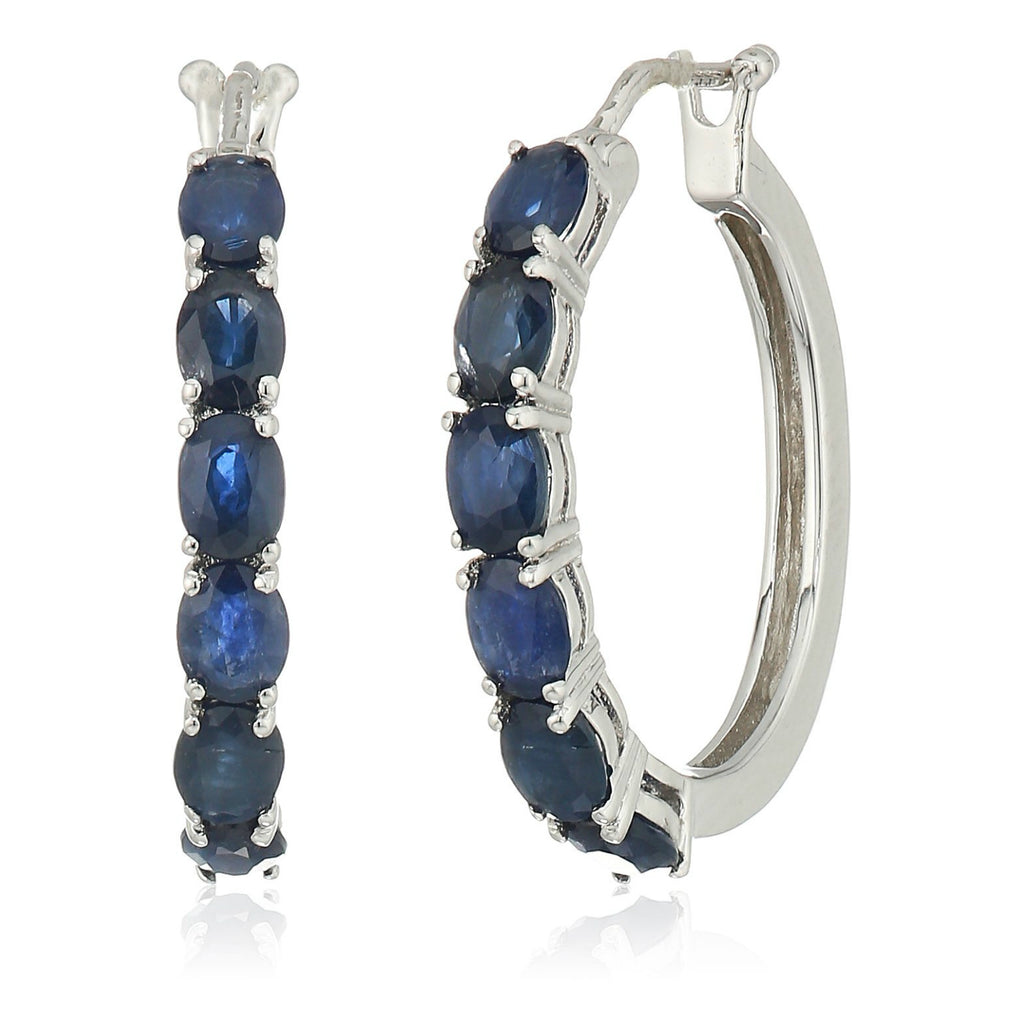 "Sterling Silver Genuine Blue Sapphire Oval Hoop Earrings, 3/4"" - pinctore"