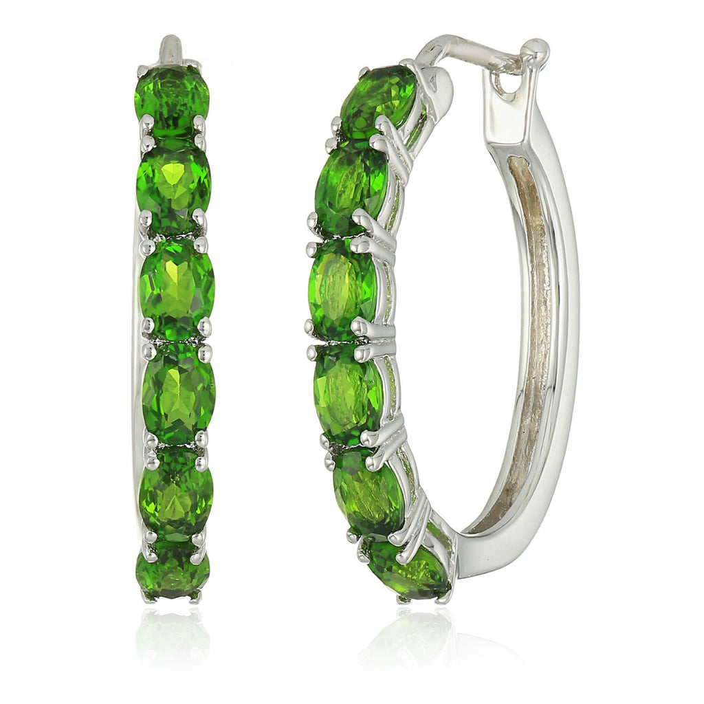 "Sterling Silver Chrome Diopside Oval Hoop Earrings, 3/4"" - pinctore"