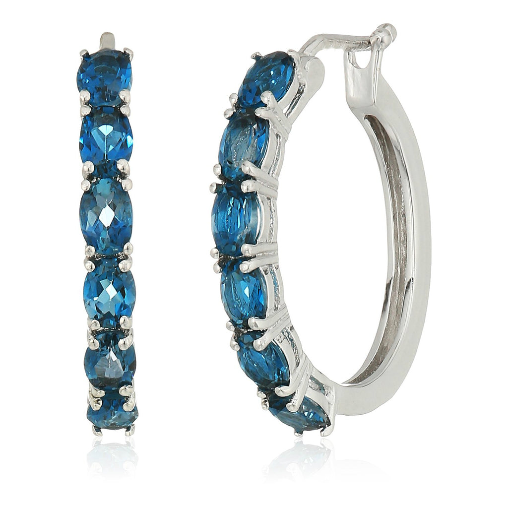 "Sterling Silver London Blue Topaz Oval Hoop Earrings, 3/4"" - pinctore"