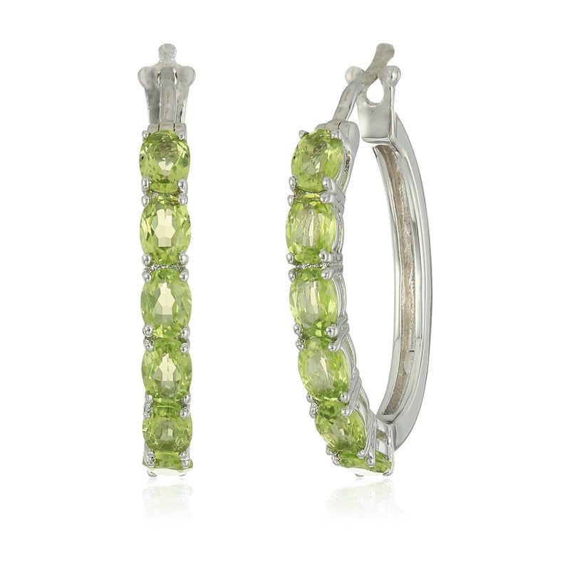 "Sterling Silver Peridot Oval Hoop Earrings, 3/4"" - pinctore"