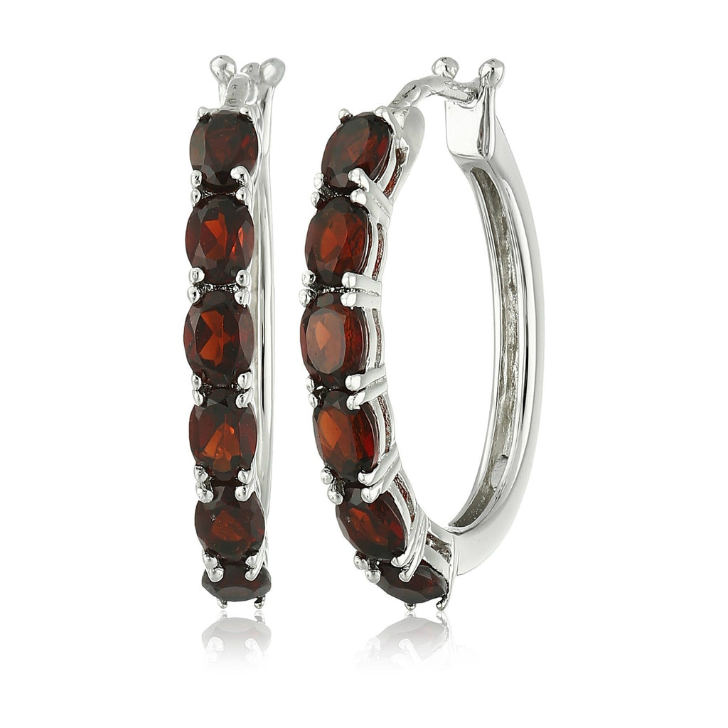 Sterling Silver Red Garnet Oval Hoop Earrings - pinctore