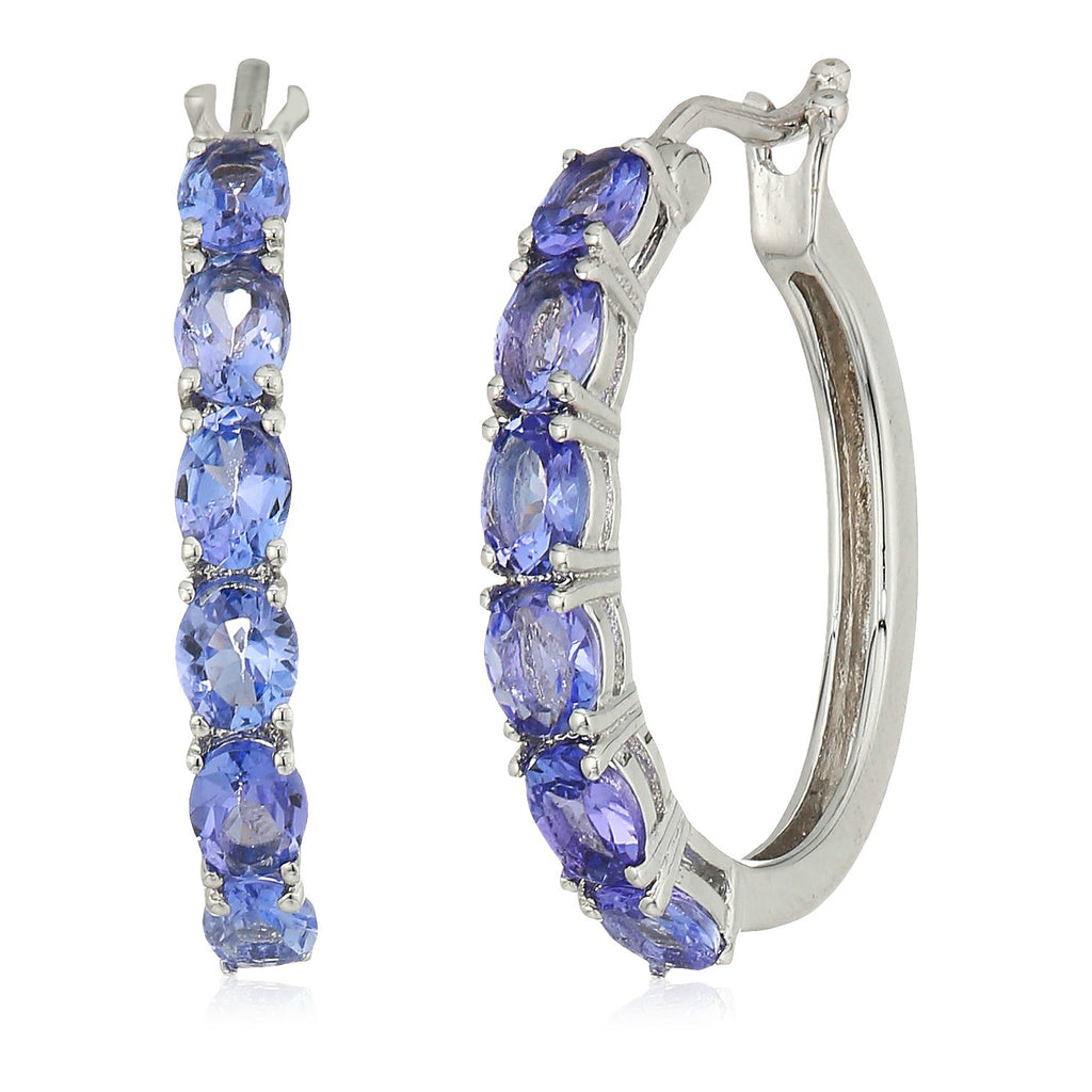"Sterling Silver Tanzanite Oval Hoop Earrings, 3/4"" - pinctore"