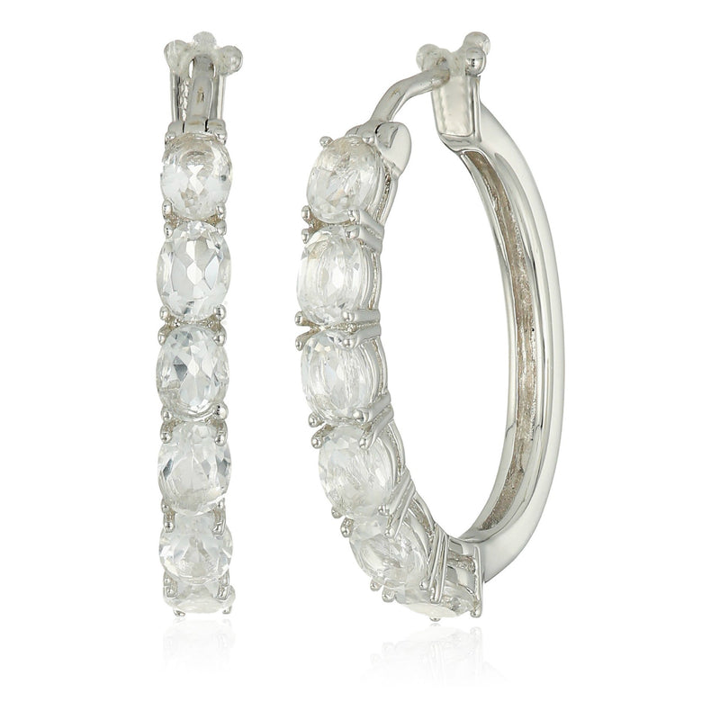 "Sterling Silver White Topaz Oval Hoop Earrings, 3/4"" - pinctore"