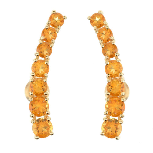Pinctore Citrine Yellow Polished Ear Climbers - pinctore