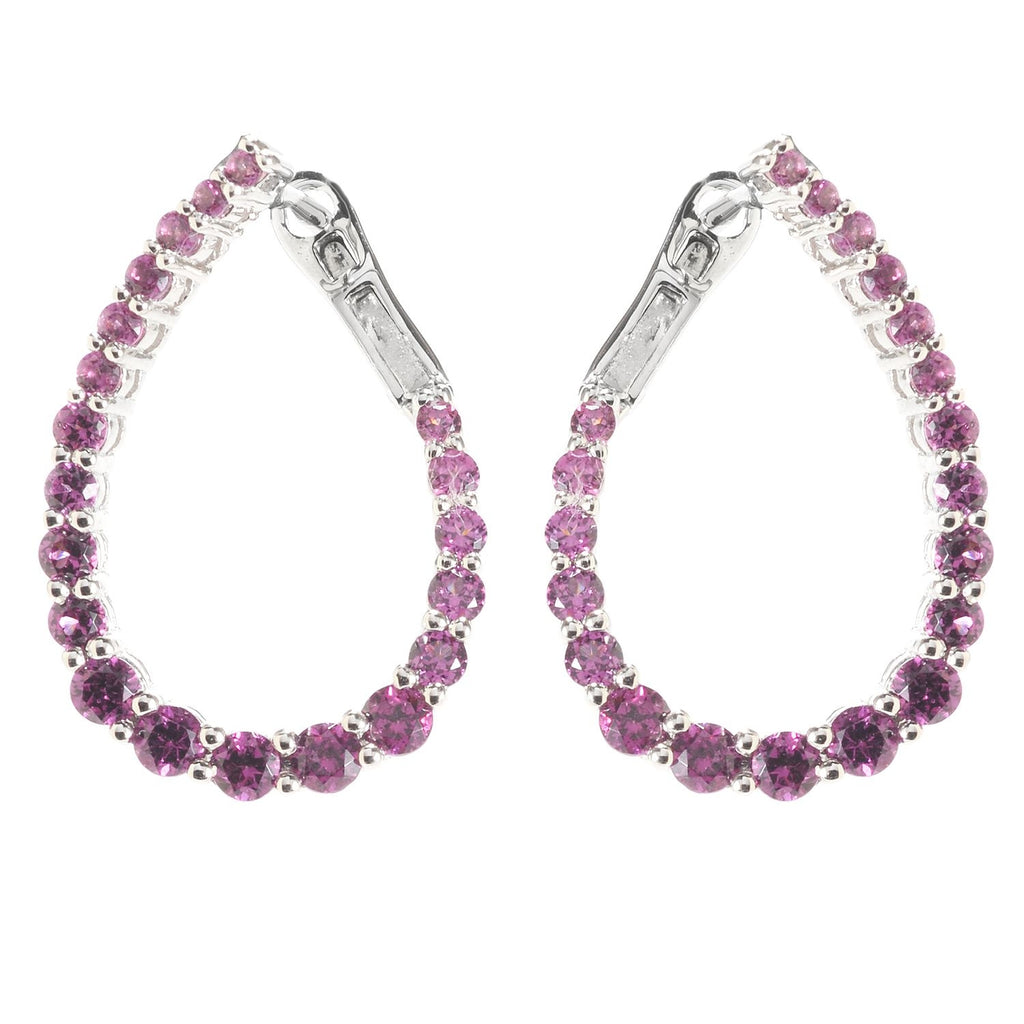 Pinctore Sterling Silver Rhodolite Inside-out Hoop Earrings - pinctore
