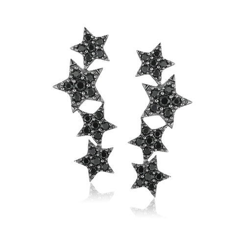 Sterling Silver Black Spinel Ear Climbers Earrings - pinctore
