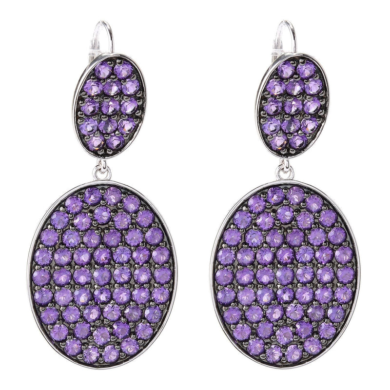 Pinctore Rhodium Over Sterling Silver 7.8ctw African Amethyst Drop Earrings 1.8'L - pinctore