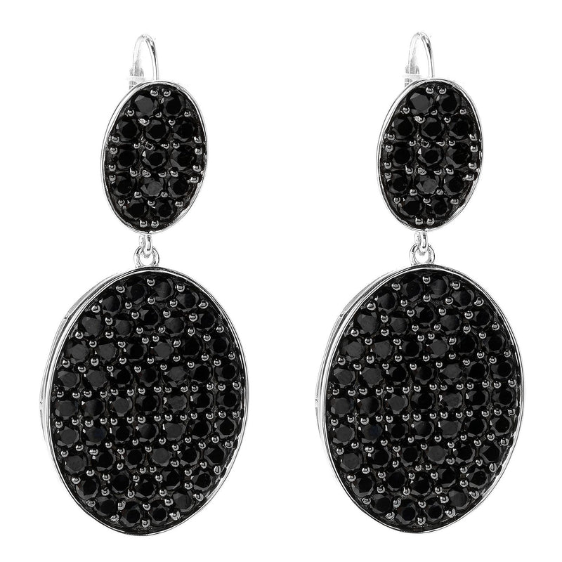 Pinctore Rhodium Over Sterling Silver 10.4ctw Black Spinel Drop Earrings 1.8'L - pinctore
